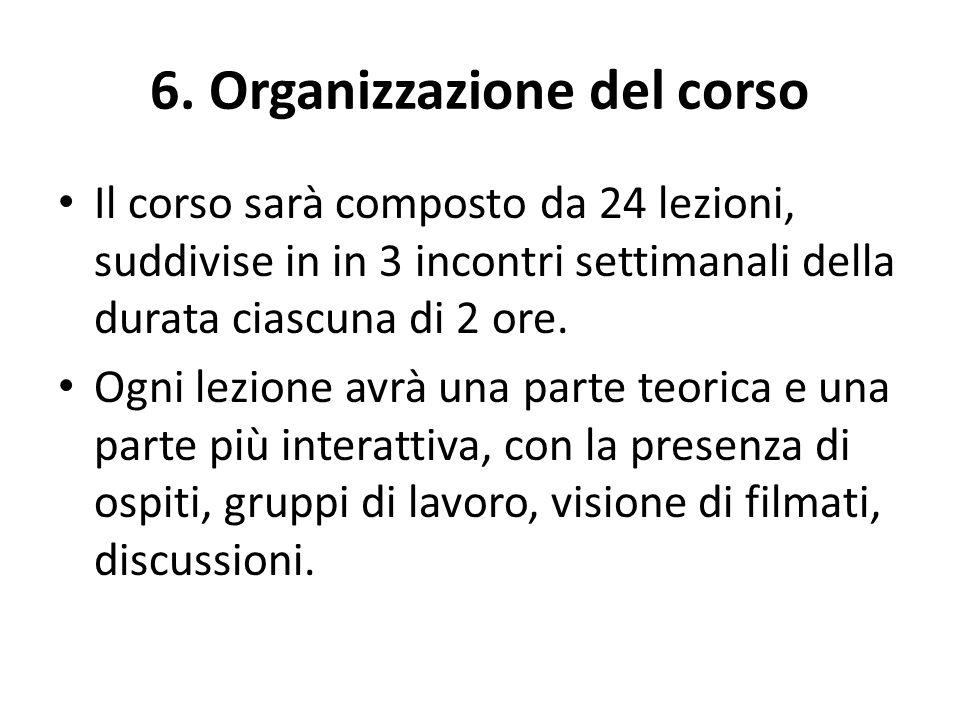 6. Organizzazione del corso Il corso sarà composto da 24 lezioni, suddivise in in 3 incontri settimanali della durata ciascuna di 2 ore. Ogni lezione