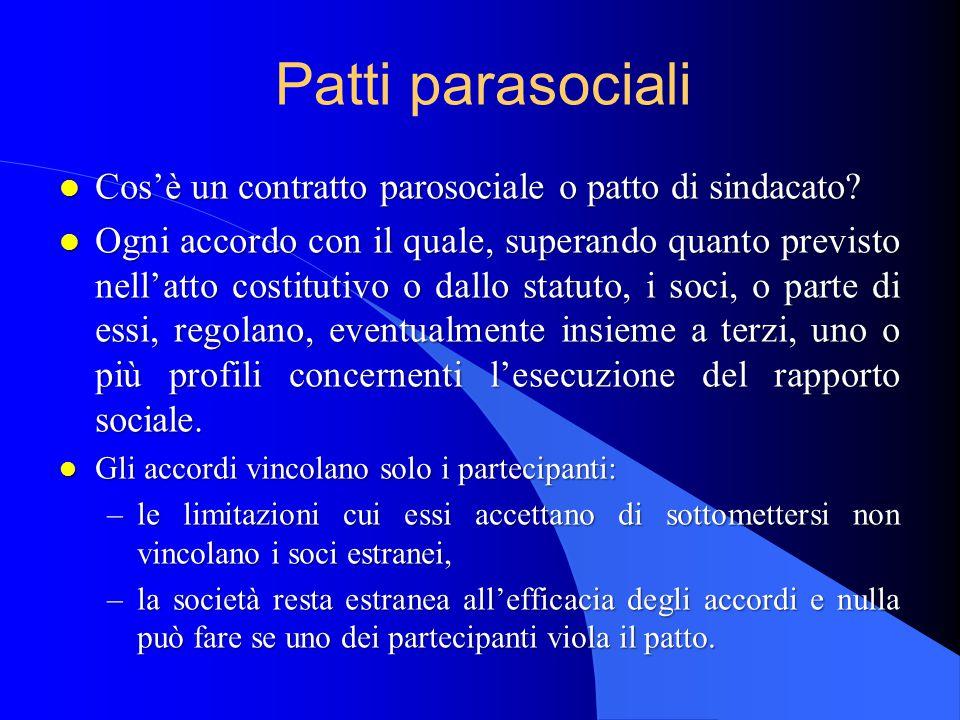 Patti parasociali l Cos'è un contratto parosociale o patto di sindacato.
