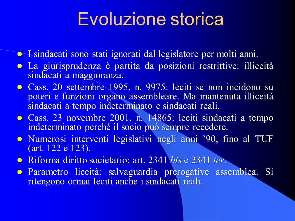 Evoluzione storica l I sindacati sono stati ignorati dal legislatore per molti anni.