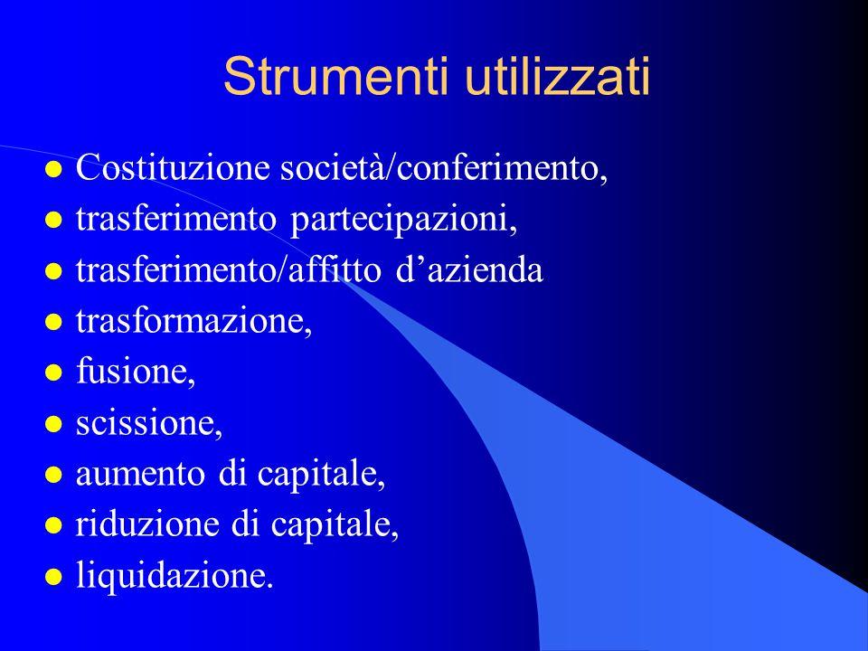 Strumenti utilizzati l Costituzione società/conferimento, l trasferimento partecipazioni, l trasferimento/affitto d'azienda l trasformazione, l fusione, l scissione, l aumento di capitale, l riduzione di capitale, l liquidazione.