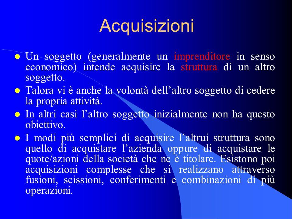 Acquisizioni l Un soggetto (generalmente un imprenditore in senso economico) intende acquisire la struttura di un altro soggetto.