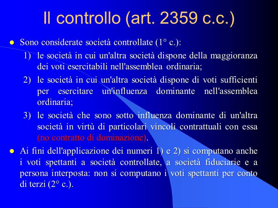 Controllo e gruppo l L'esistenza del controllo non basta per poter affermare che di è in presenza di un gruppo (lo si può solo presumere), occorrendo anche l'esercizio dell'attività di direzione e coordinamento di società.