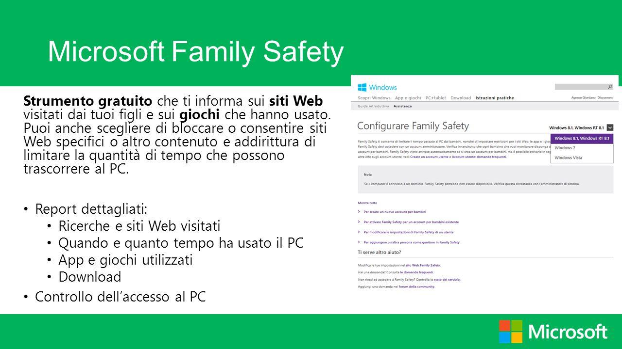 Microsoft Family Safety Strumento gratuito che ti informa sui siti Web visitati dai tuoi figli e sui giochi che hanno usato. Puoi anche scegliere di b