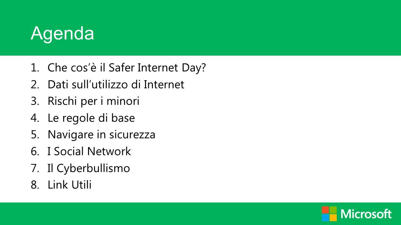 Agenda 1.Che cos'è il Safer Internet Day? 2.Dati sull'utilizzo di Internet 3.Rischi per i minori 4.Le regole di base 5.Navigare in sicurezza 6.I Socia