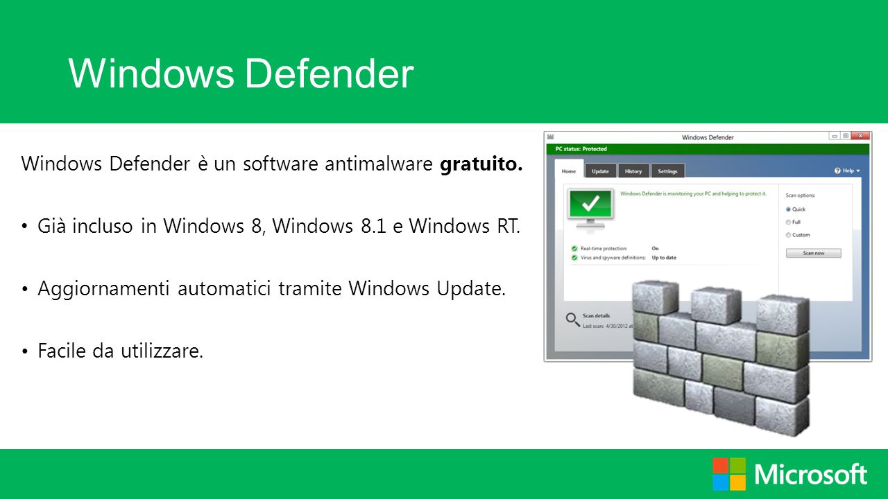 Windows Defender Windows Defender è un software antimalware gratuito. Già incluso in Windows 8, Windows 8.1 e Windows RT. Aggiornamenti automatici tra