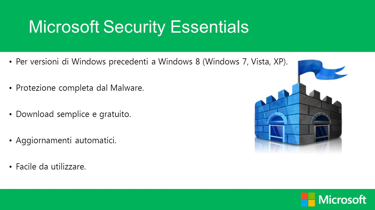Microsoft Security Essentials Per versioni di Windows precedenti a Windows 8 (Windows 7, Vista, XP). Protezione completa dal Malware. Download semplic