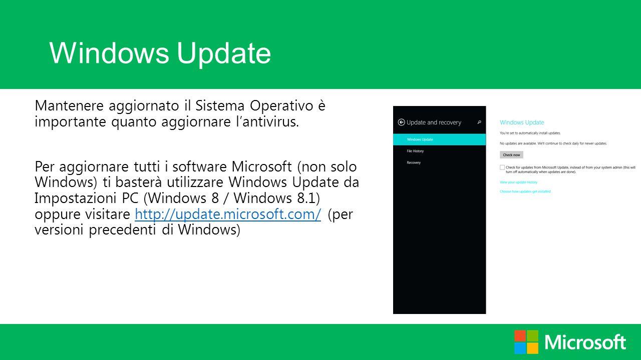 Windows Update Mantenere aggiornato il Sistema Operativo è importante quanto aggiornare l'antivirus. Per aggiornare tutti i software Microsoft (non so