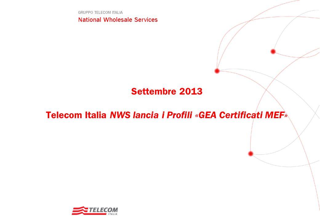 GRUPPO TELECOM ITALIA National Wholesale Services Settembre 2013 Telecom Italia NWS lancia i Profili «GEA Certificati MEF»