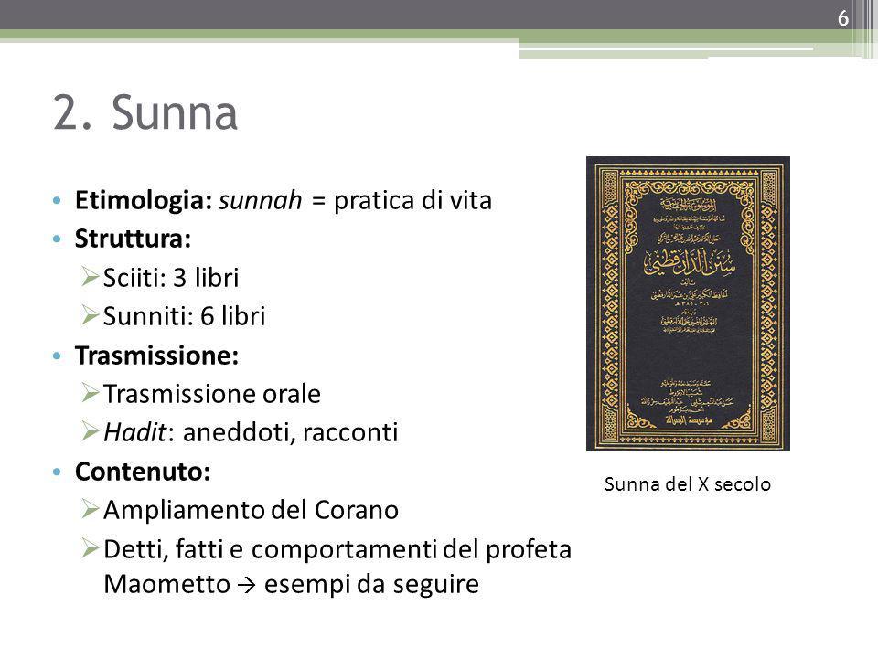 2. Sunna Etimologia: sunnah = pratica di vita Struttura:  Sciiti: 3 libri  Sunniti: 6 libri Trasmissione:  Trasmissione orale  Hadit: aneddoti, ra