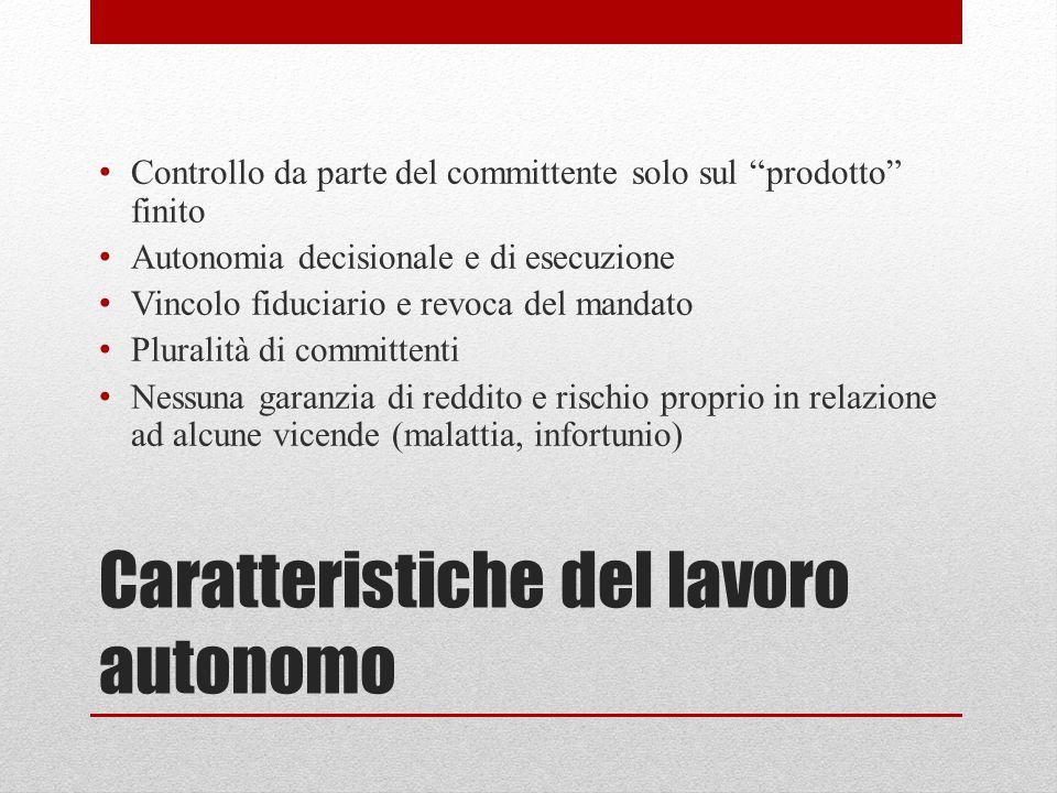 """Caratteristiche del lavoro autonomo Controllo da parte del committente solo sul """"prodotto"""" finito Autonomia decisionale e di esecuzione Vincolo fiduci"""
