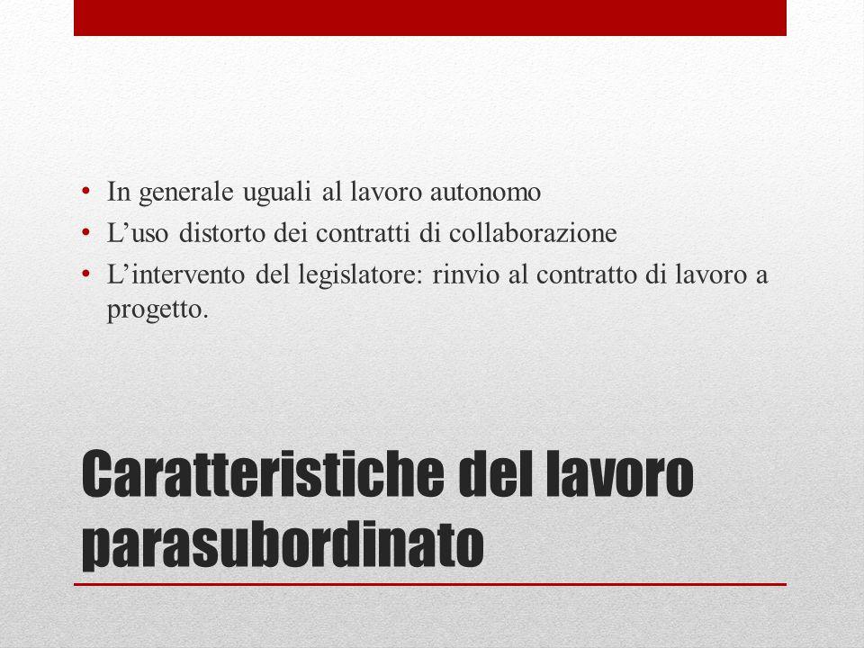 Caratteristiche del lavoro parasubordinato In generale uguali al lavoro autonomo L'uso distorto dei contratti di collaborazione L'intervento del legislatore: rinvio al contratto di lavoro a progetto.