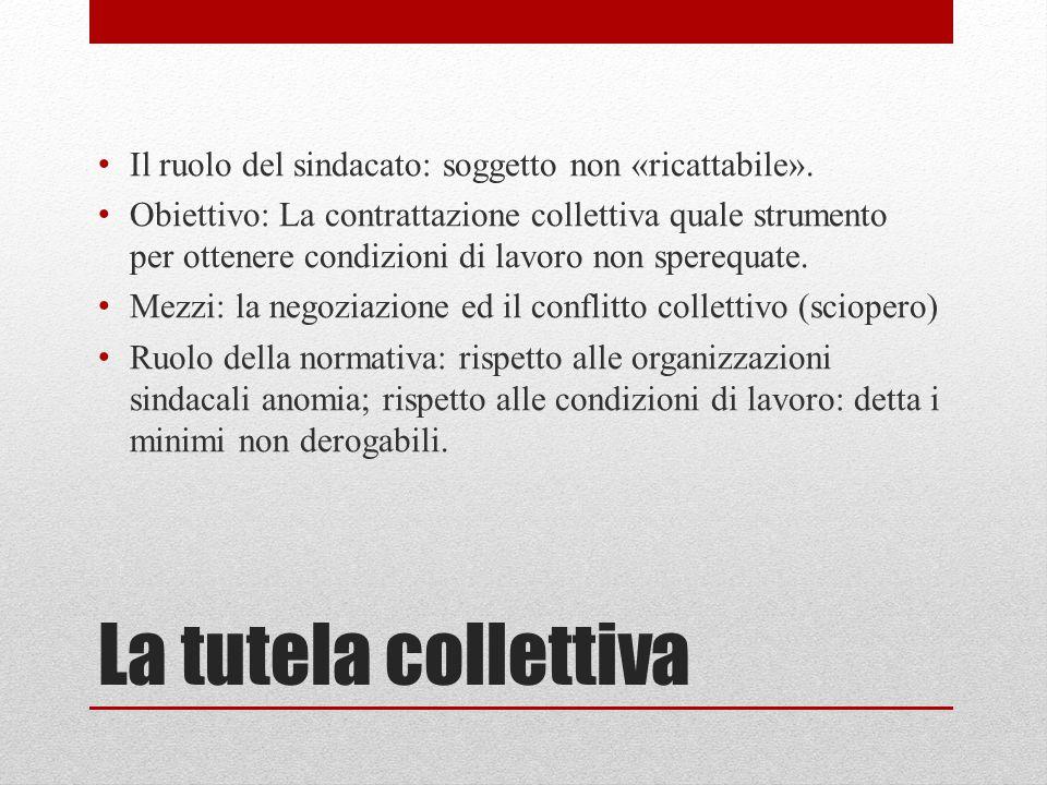 La tutela collettiva Il ruolo del sindacato: soggetto non «ricattabile». Obiettivo: La contrattazione collettiva quale strumento per ottenere condizio