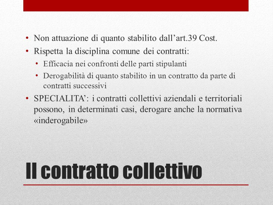 Il contratto collettivo Non attuazione di quanto stabilito dall'art.39 Cost. Rispetta la disciplina comune dei contratti: Efficacia nei confronti dell