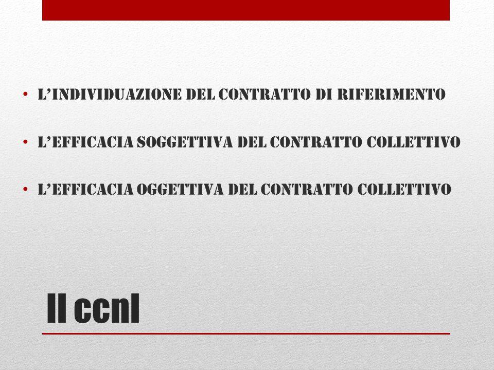 Il ccnl L'individuazione del contratto di riferimento L'efficacia soggettiva del contratto collettivo L'efficacia oggettiva del contratto collettivo