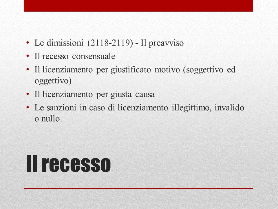 Il recesso Le dimissioni (2118-2119) - Il preavviso Il recesso consensuale Il licenziamento per giustificato motivo (soggettivo ed oggettivo) Il licenziamento per giusta causa Le sanzioni in caso di licenziamento illegittimo, invalido o nullo.