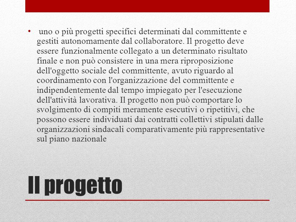 Il progetto uno o più progetti specifici determinati dal committente e gestiti autonomamente dal collaboratore. Il progetto deve essere funzionalmente