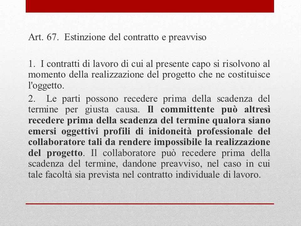 Art. 67. Estinzione del contratto e preavviso 1.