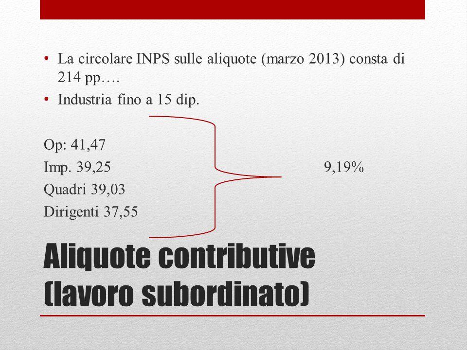 Aliquote contributive (lavoro subordinato) La circolare INPS sulle aliquote (marzo 2013) consta di 214 pp…. Industria fino a 15 dip. Op: 41,47 Imp. 39