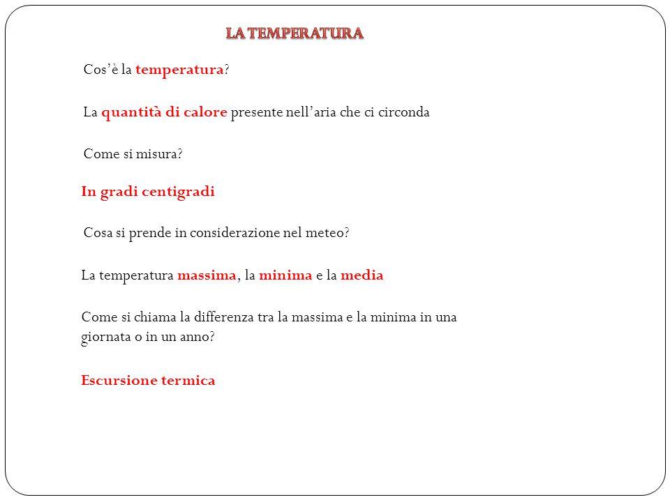 Cos'è la temperatura? La quantità di calore presente nell'aria che ci circonda Come si misura? In gradi centigradi Cosa si prende in considerazione ne