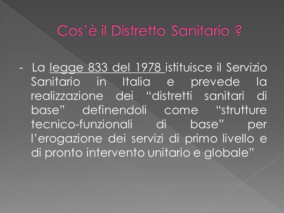 """- La legge 833 del 1978 istituisce il Servizio Sanitario in Italia e prevede la realizzazione dei """"distretti sanitari di base"""" definendoli come """"strut"""