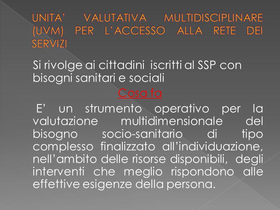 Si rivolge ai cittadini iscritti al SSP con bisogni sanitari e sociali Cosa fa E' un strumento operativo per la valutazione multidimensionale del biso