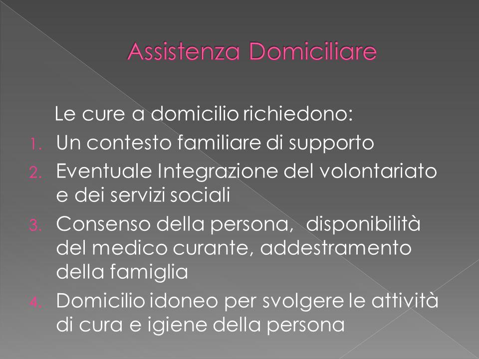 Le cure a domicilio richiedono: 1. Un contesto familiare di supporto 2. Eventuale Integrazione del volontariato e dei servizi sociali 3. Consenso dell