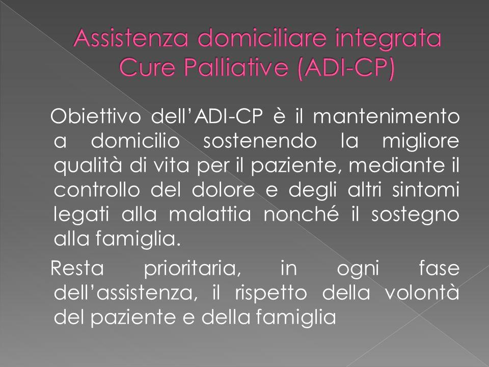 Obiettivo dell'ADI-CP è il mantenimento a domicilio sostenendo la migliore qualità di vita per il paziente, mediante il controllo del dolore e degli a