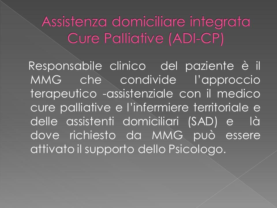 Responsabile clinico del paziente è il MMG che condivide l'approccio terapeutico -assistenziale con il medico cure palliative e l'infermiere territori