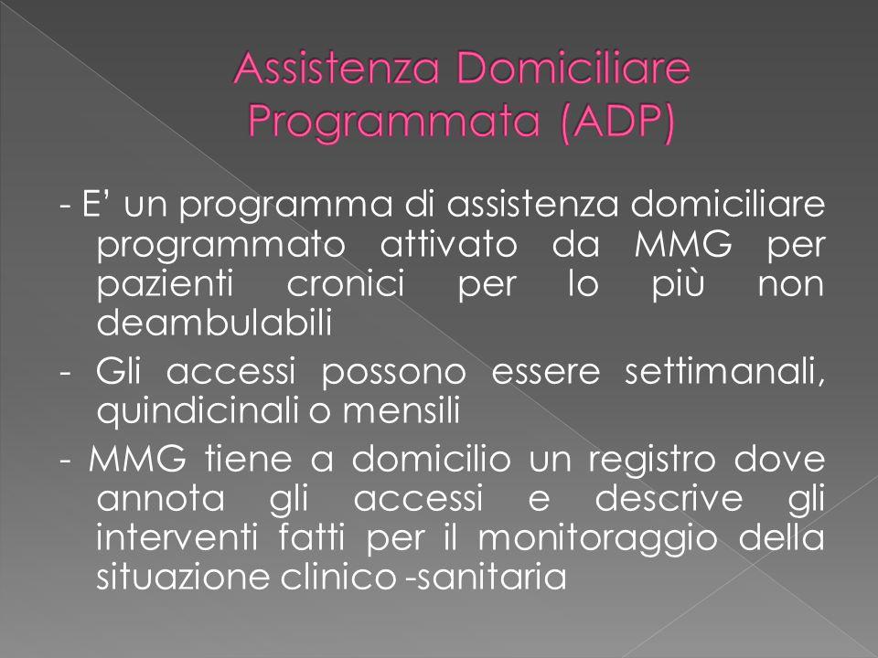 - E' un programma di assistenza domiciliare programmato attivato da MMG per pazienti cronici per lo più non deambulabili - Gli accessi possono essere