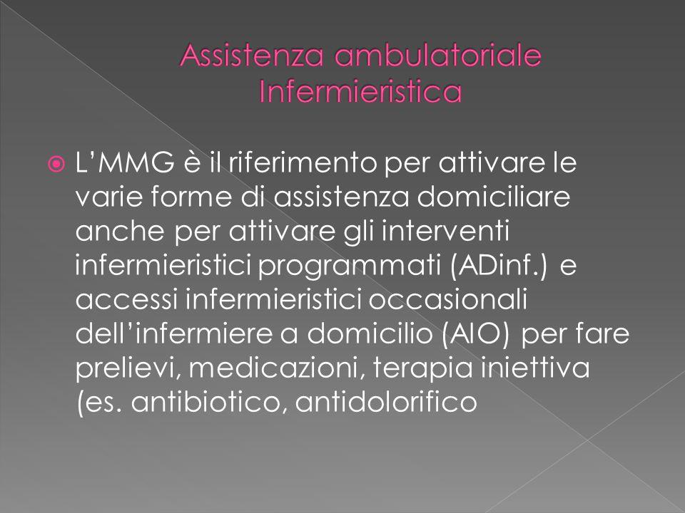  L'MMG è il riferimento per attivare le varie forme di assistenza domiciliare anche per attivare gli interventi infermieristici programmati (ADinf.)