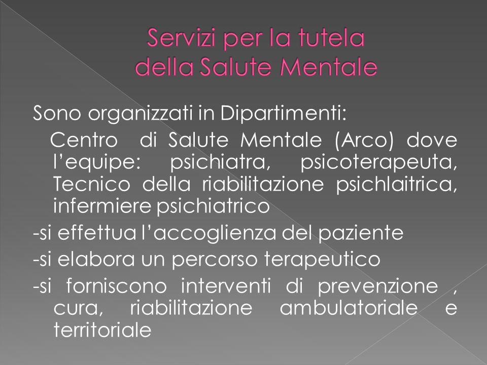 Sono organizzati in Dipartimenti: Centro di Salute Mentale (Arco) dove l'equipe: psichiatra, psicoterapeuta, Tecnico della riabilitazione psichlaitric
