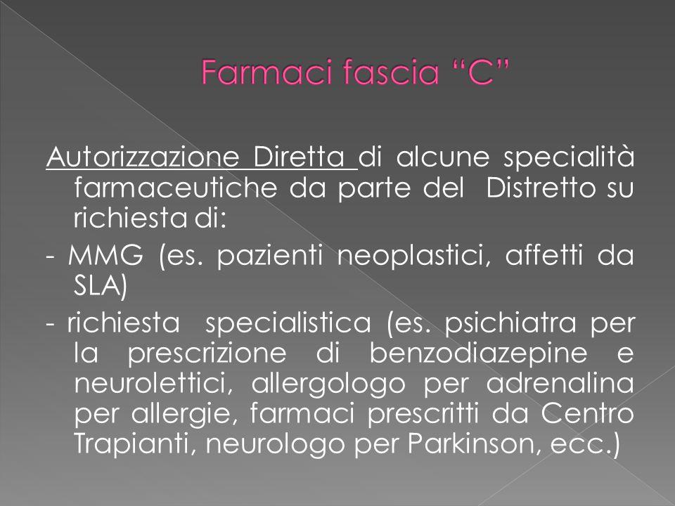 Autorizzazione Diretta di alcune specialità farmaceutiche da parte del Distretto su richiesta di: - MMG (es. pazienti neoplastici, affetti da SLA) - r