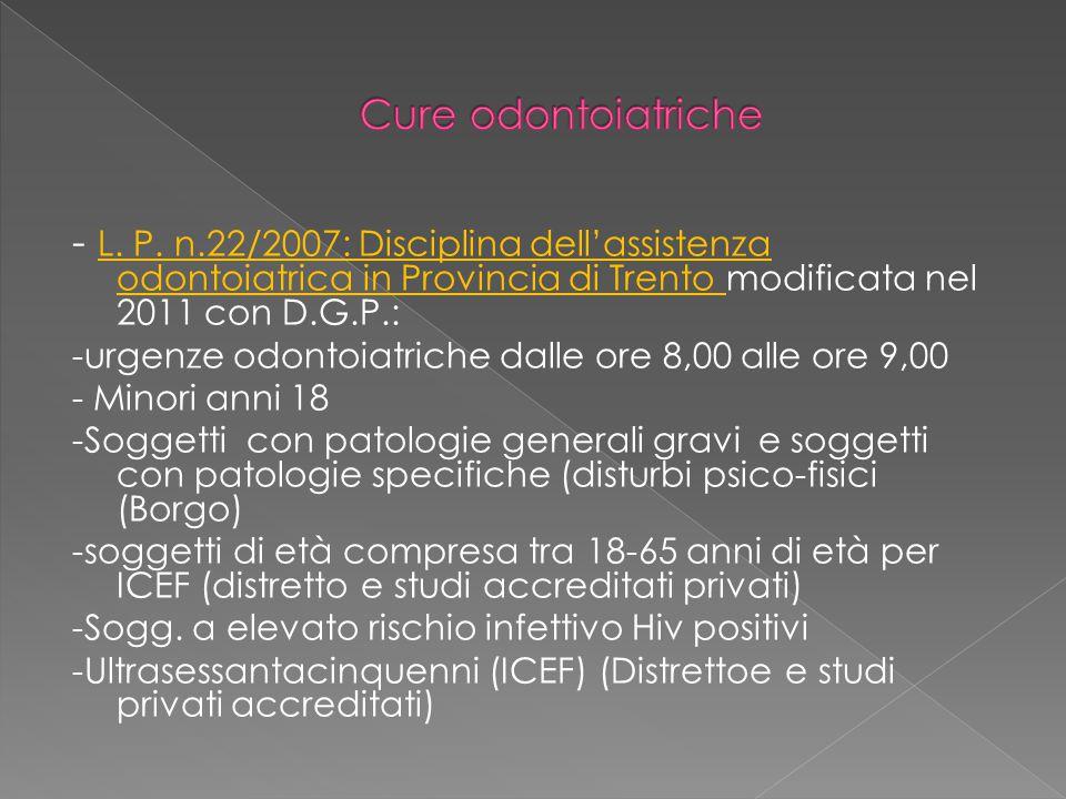 - L. P. n.22/2007: Disciplina dell'assistenza odontoiatrica in Provincia di Trento modificata nel 2011 con D.G.P.: -urgenze odontoiatriche dalle ore 8