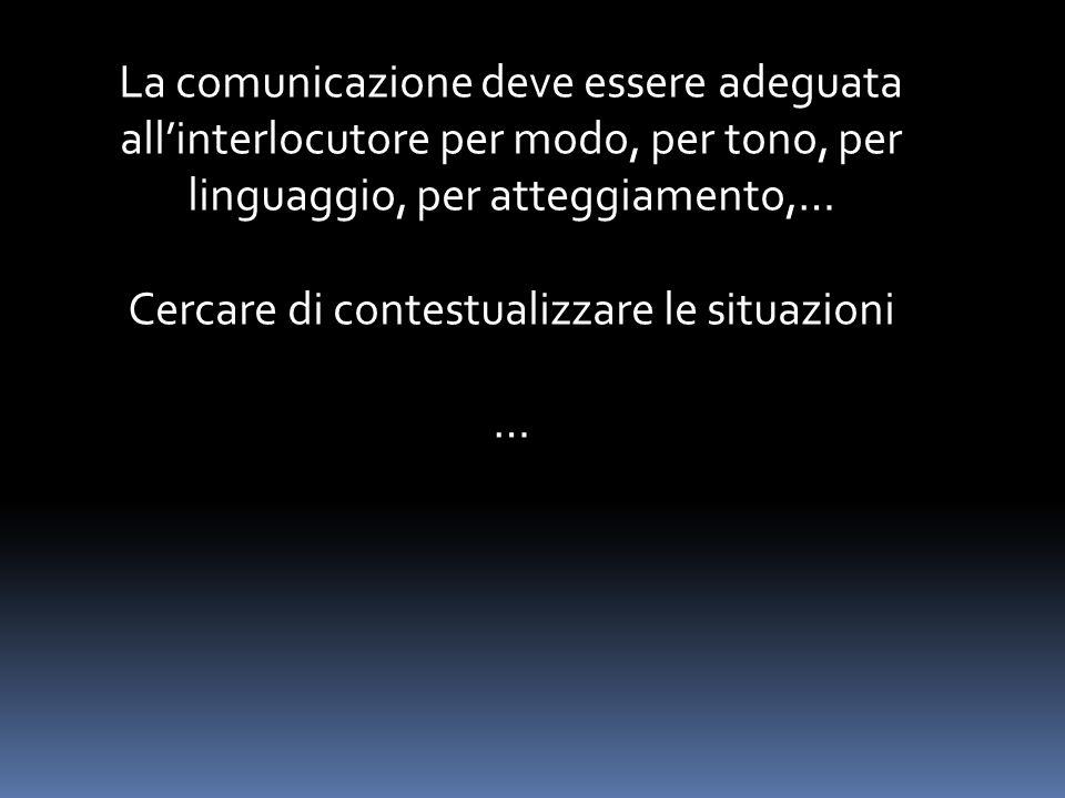 La comunicazione deve essere adeguata all'interlocutore per modo, per tono, per linguaggio, per atteggiamento,… Cercare di contestualizzare le situazioni …
