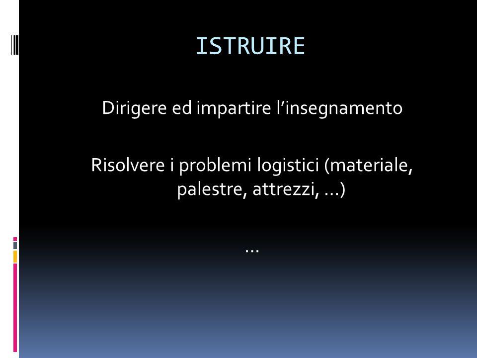 ISTRUIRE Dirigere ed impartire l'insegnamento Risolvere i problemi logistici (materiale, palestre, attrezzi, …) …