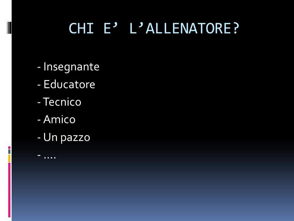 CHI E' L'ALLENATORE - Insegnante - Educatore - Tecnico - Amico - Un pazzo - ….