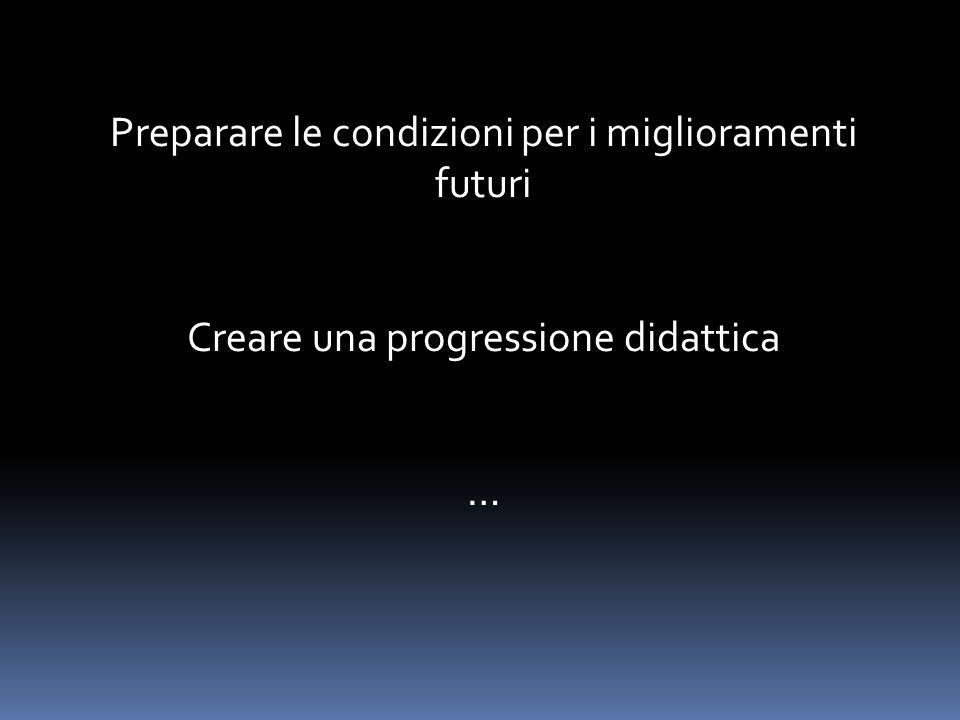 Preparare le condizioni per i miglioramenti futuri Creare una progressione didattica …