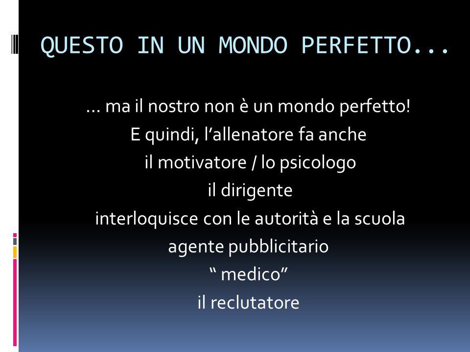 QUESTO IN UN MONDO PERFETTO... … ma il nostro non è un mondo perfetto.