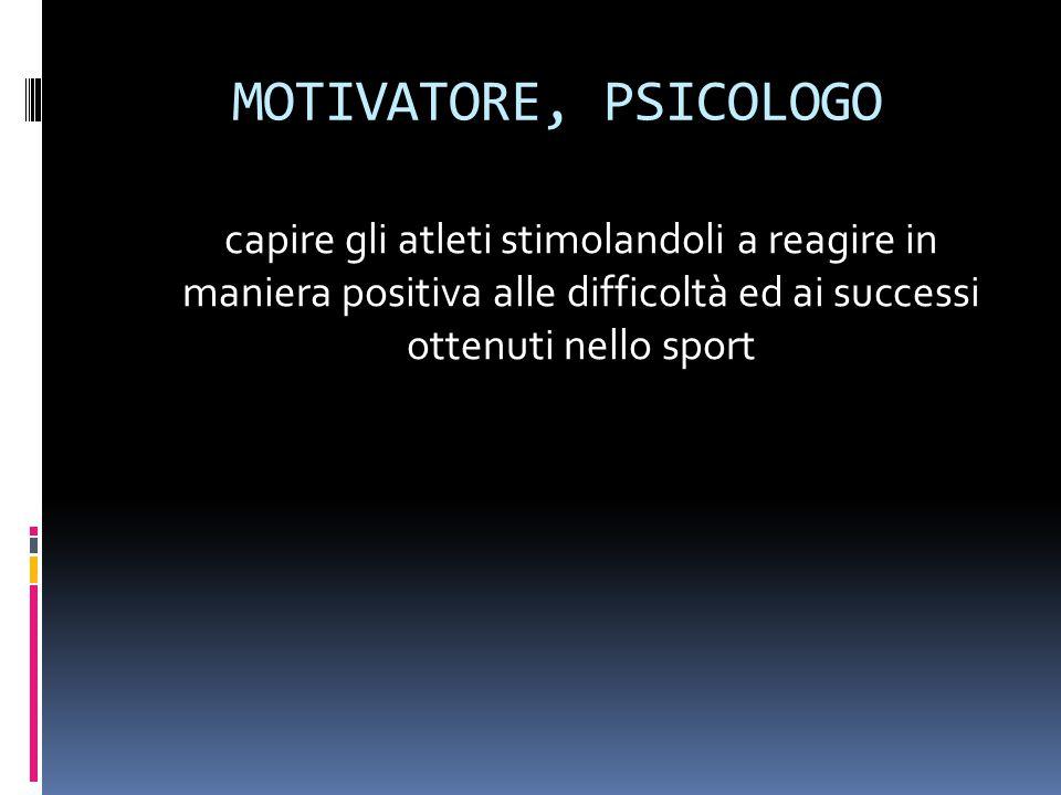 MOTIVATORE, PSICOLOGO capire gli atleti stimolandoli a reagire in maniera positiva alle difficoltà ed ai successi ottenuti nello sport