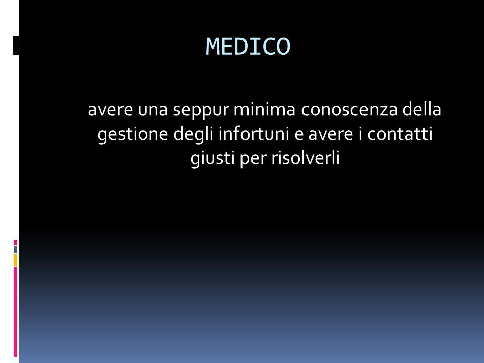 MEDICO avere una seppur minima conoscenza della gestione degli infortuni e avere i contatti giusti per risolverli