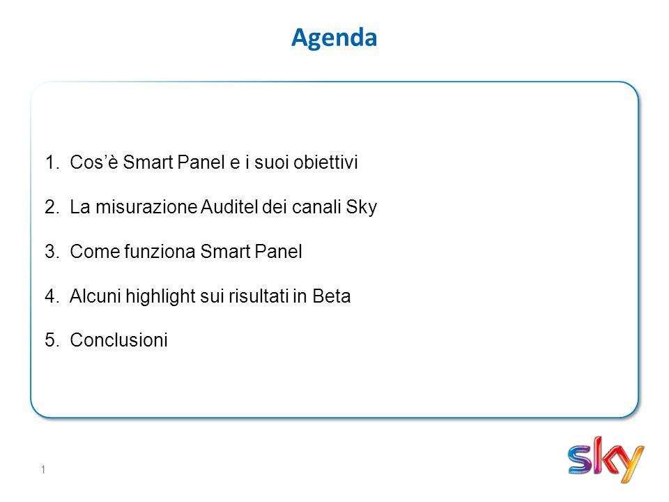 1 Agenda 1.Cos'è Smart Panel e i suoi obiettivi 2.La misurazione Auditel dei canali Sky 3.Come funziona Smart Panel 4.Alcuni highlight sui risultati in Beta 5.Conclusioni 1.Cos'è Smart Panel e i suoi obiettivi 2.La misurazione Auditel dei canali Sky 3.Come funziona Smart Panel 4.Alcuni highlight sui risultati in Beta 5.Conclusioni