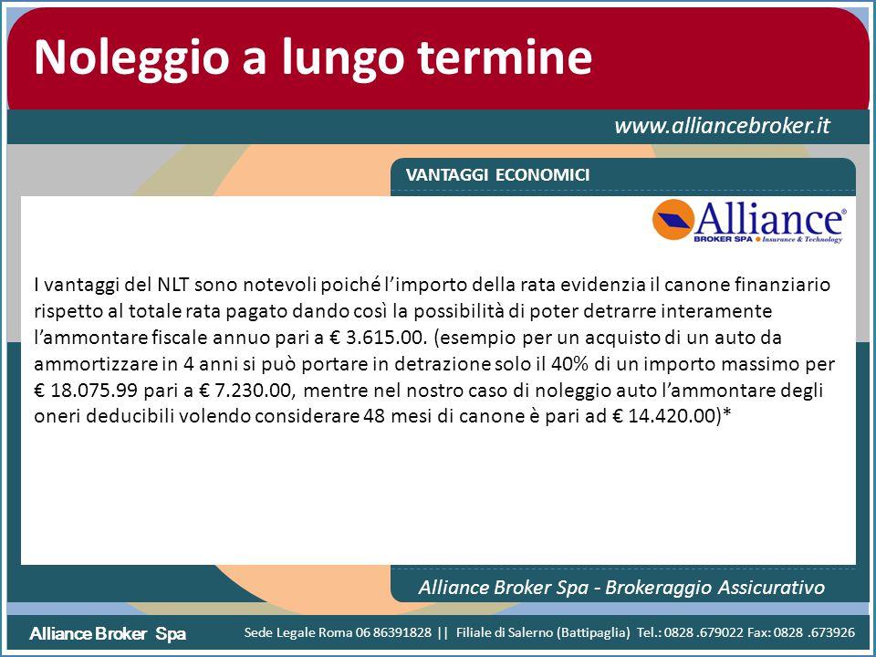Alliance Broker Spa Noleggio a lungo termine www.alliancebroker.it VANTAGGI ECONOMICI Alliance Broker Spa - Brokeraggio Assicurativo I vantaggi del NL