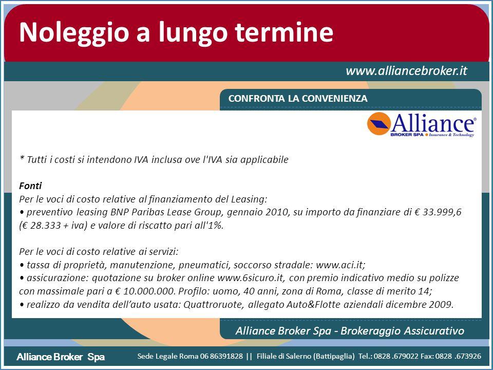 Alliance Broker Spa Noleggio a lungo termine www.alliancebroker.it CONFRONTA LA CONVENIENZA Alliance Broker Spa - Brokeraggio Assicurativo * Tutti i c
