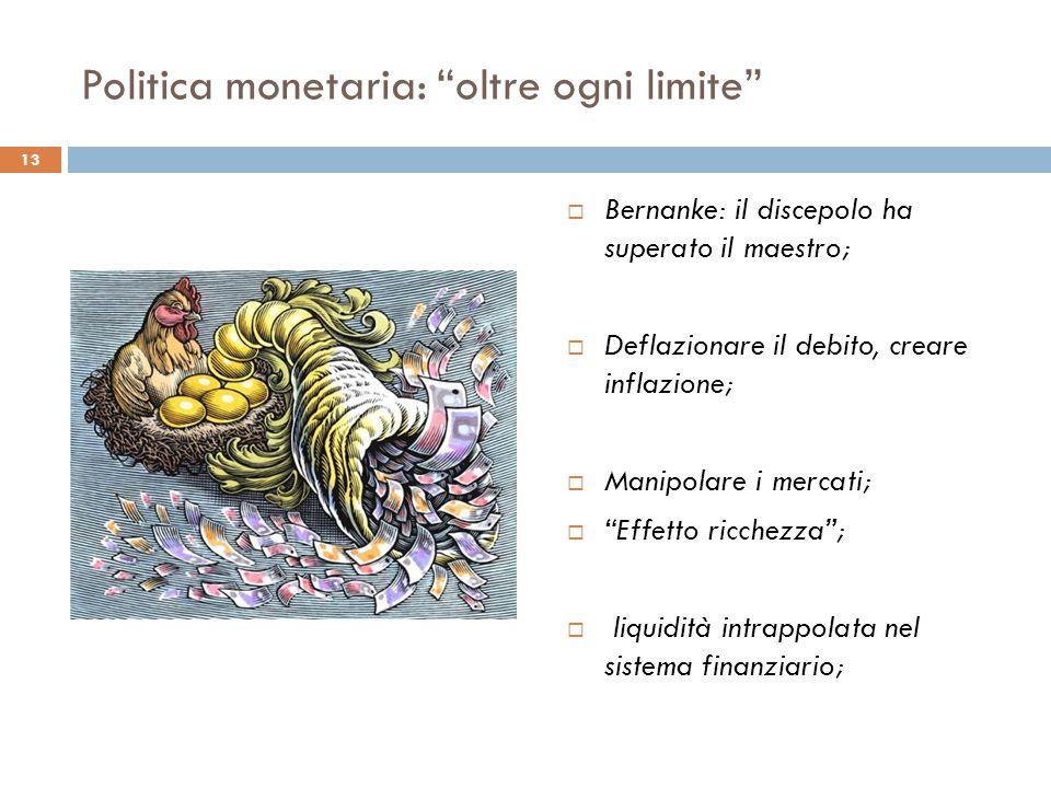 Politica monetaria: oltre ogni limite  Bernanke: il discepolo ha superato il maestro;  Deflazionare il debito, creare inflazione;  Manipolare i mercati;  Effetto ricchezza ;  liquidità intrappolata nel sistema finanziario; 13