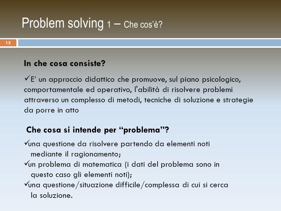 Problem solving 1 – Che cos'è.In che cosa consiste.