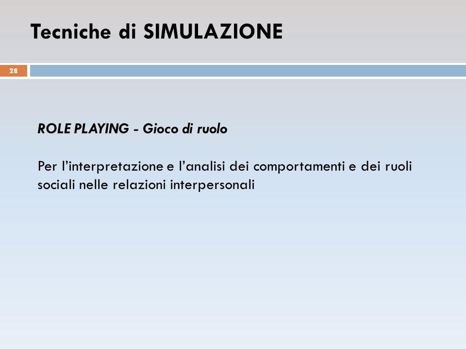 ROLE PLAYING - Gioco di ruolo Per l'interpretazione e l'analisi dei comportamenti e dei ruoli sociali nelle relazioni interpersonali Tecniche di SIMULAZIONE 28