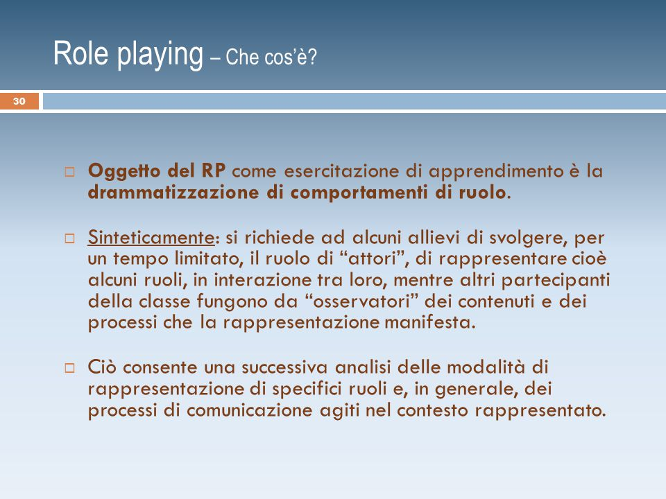 Role playing – Che cos'è.