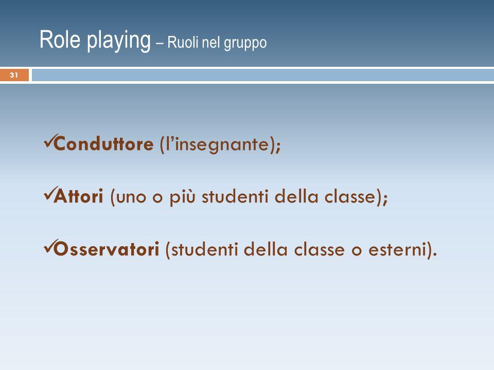 Role playing – Ruoli nel gruppo Conduttore (l'insegnante); Attori (uno o più studenti della classe); Osservatori (studenti della classe o esterni).