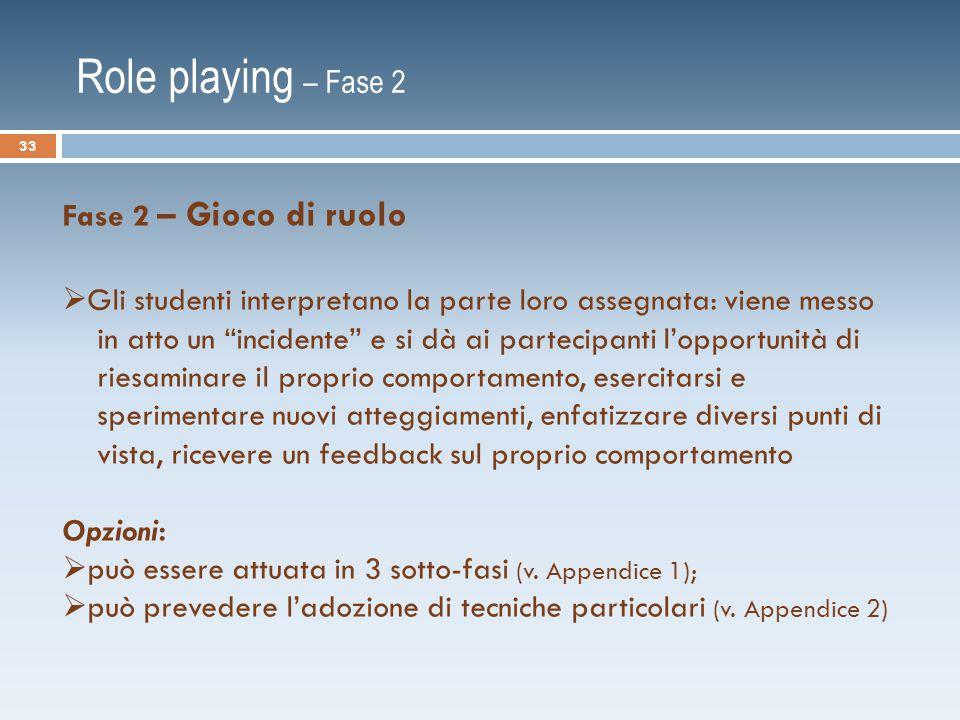 Role playing – Fase 2 Fase 2 – Gioco di ruolo  Gli studenti interpretano la parte loro assegnata: viene messo in atto un incidente e si dà ai partecipanti l'opportunità di riesaminare il proprio comportamento, esercitarsi e sperimentare nuovi atteggiamenti, enfatizzare diversi punti di vista, ricevere un feedback sul proprio comportamento Opzioni:  può essere attuata in 3 sotto-fasi (v.