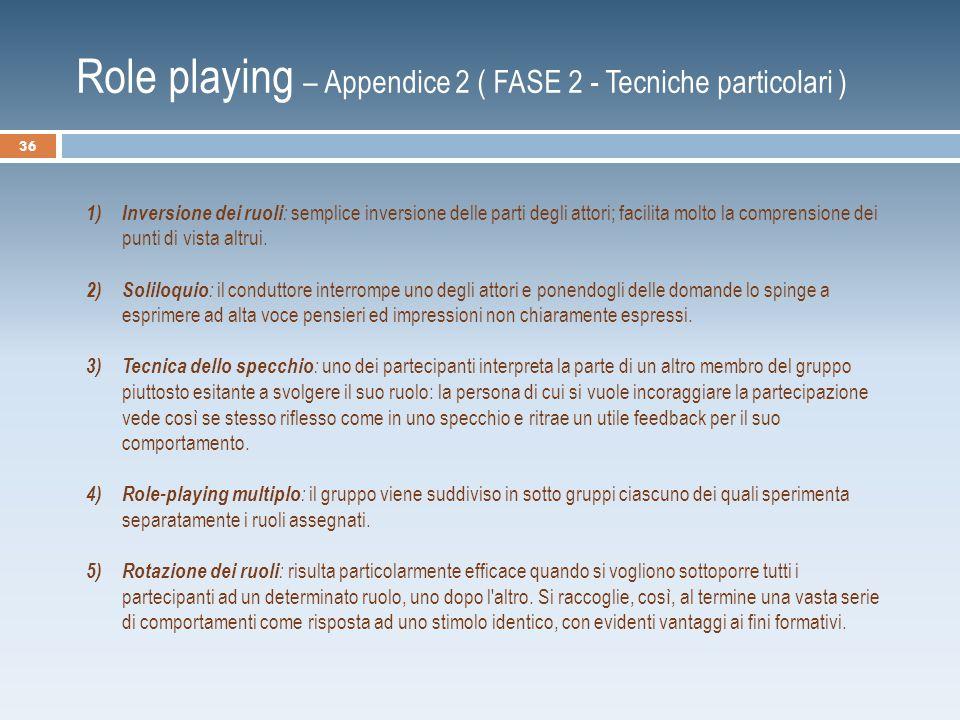 Role playing – Appendice 2 ( FASE 2 - Tecniche particolari ) 1) Inversione dei ruoli : semplice inversione delle parti degli attori; facilita molto la comprensione dei punti di vista altrui.
